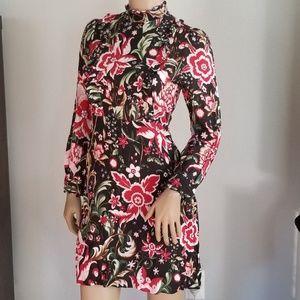 Zara woman black flowered dress